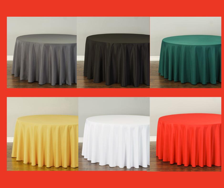 120 in round polyester tablecloths 10 pack