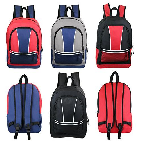"17"" Wholesale Kids Sport Backpacks in 4 Assorted Colors - Bu"