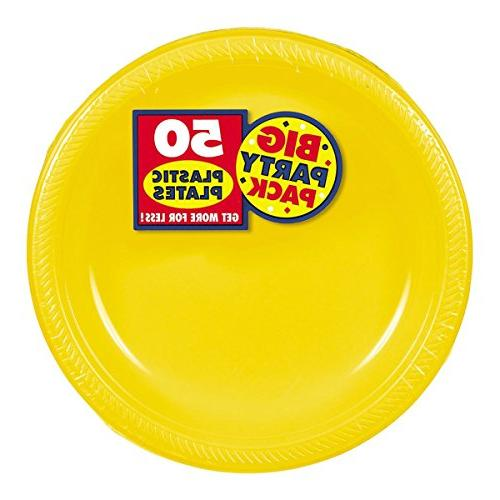 Big Party Pack Plastic Plates Sunshine Yellow of Supply