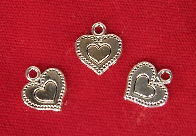 bulk 30pc heart charms in antique silver
