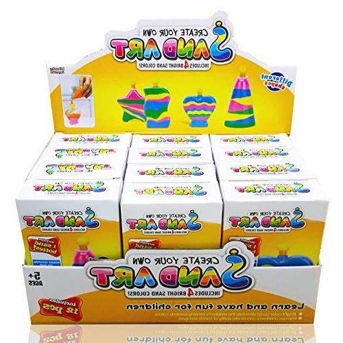12 Own Colored Art Bottles, Sticks, 48 Bags of Sand Ideal for Party Bulk