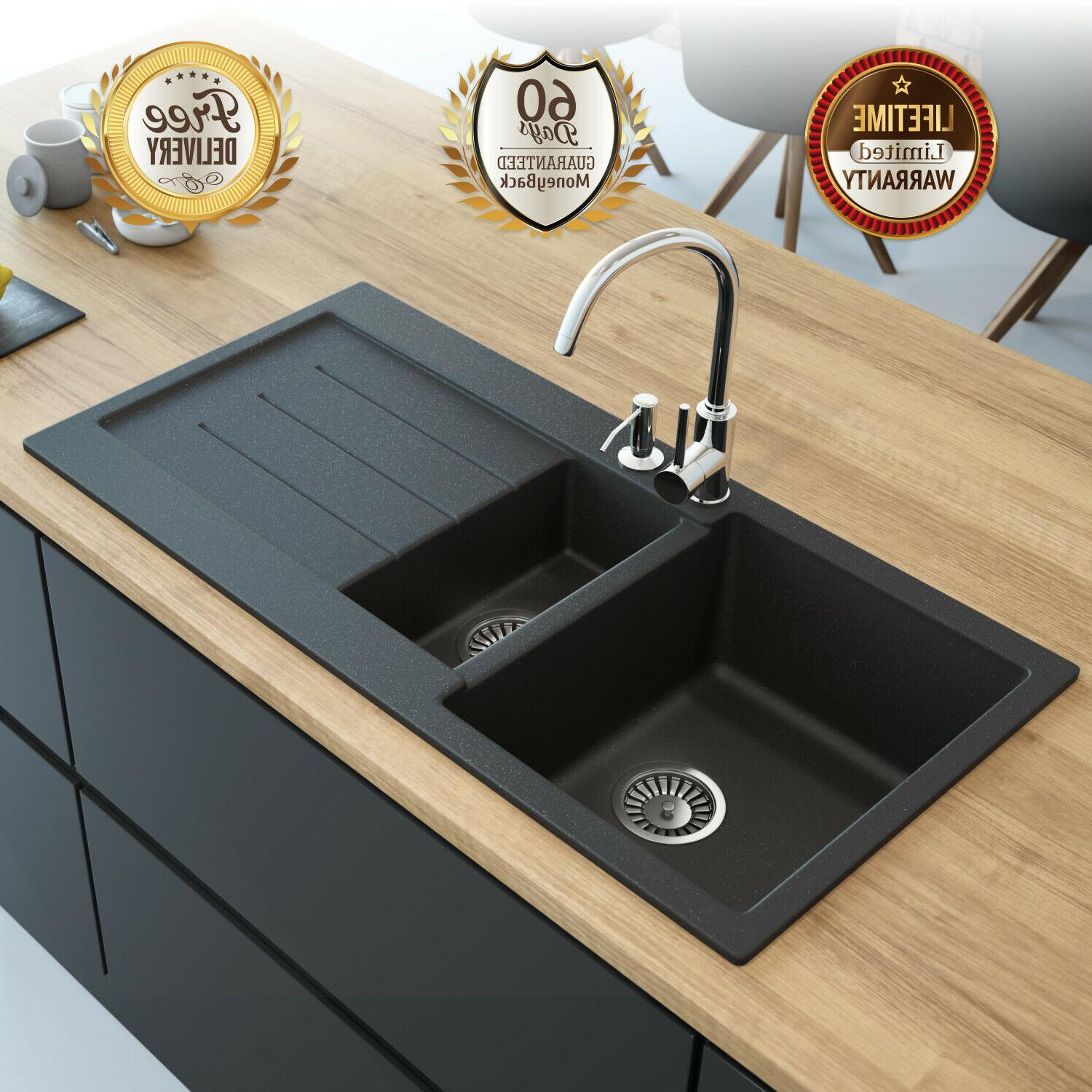 double bowl granite composite kitchen sink