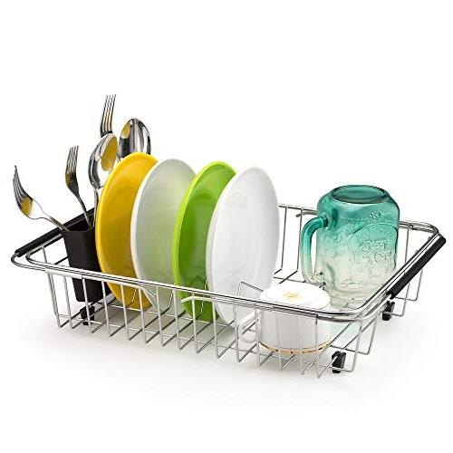 SANNO Expandable Rack,Over the Dish Drainer,Dish Sink or with Holder, Rustproof
