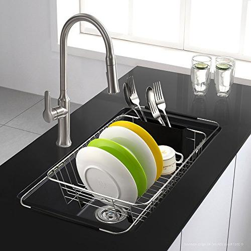 SANNO Expandable Dish drying Rack,Over Sink Adjustable Dish Rack In Sink Counter with Utensil Silverware Holder, Rustproof