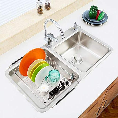 SANNO Expandable Dish Rack,Over the Dish Drainer,Dish Rack Sink On Counter with Utensil Holder,