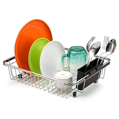 SANNO Rack,Over Dish Drainer,Dish Rack In Sink or with Silverware Holder, Steel