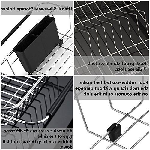 SANNO drying Rack,Over Sink On with Utensil Silverware Storage Holder, Stainless