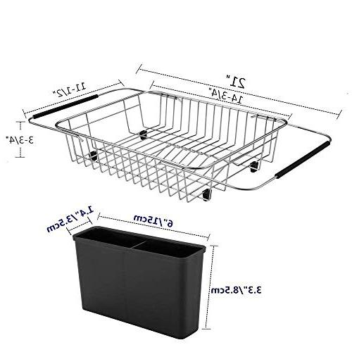 SANNO Rack,Over the Sink Dish Drainer,Dish In Sink with Silverware Holder, Stainless