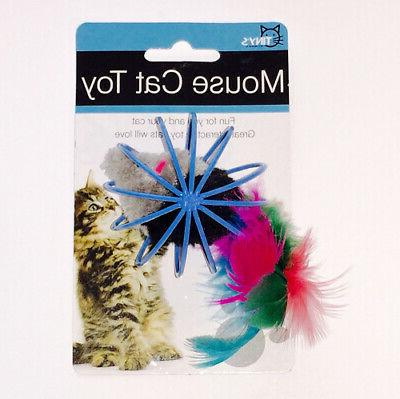 feathered mouse in ball cage cat toy
