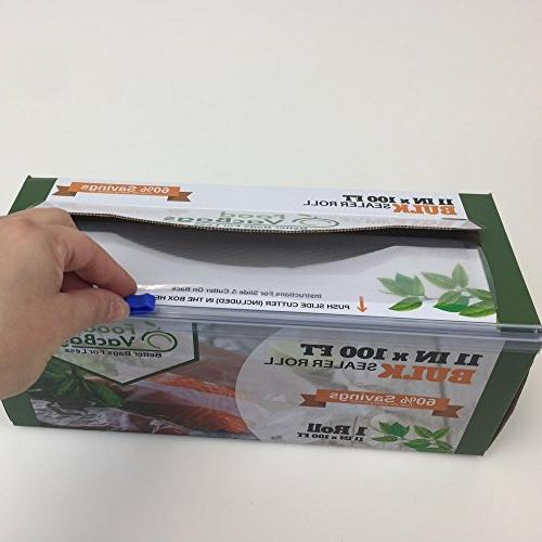 100-Feet Vacuum Sealer Bag Roll with by FoodVacBags 4mil Commercial Thickness, BPA-Phthalate Free, Sous Vide, Storage