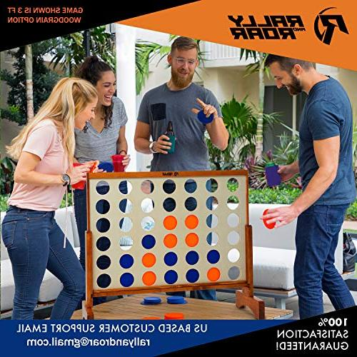 Giant Row, 4 - Wooden Four Connect in 4' Rally Oversized Family Party Games for Parties, Bar Game