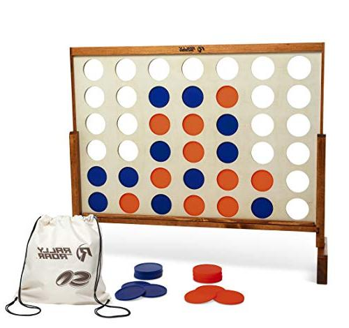 Giant 4 Row, 4 - Premium Wooden Four Connect Game 4' Wood Grain Rally Oversized Games Lawn, Parties, Bar