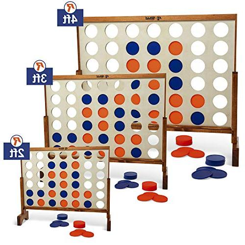 Giant A Row, 4 Connect 4' Grain Rally Roar Oversized Games for Backyard, Parties, Bar Game