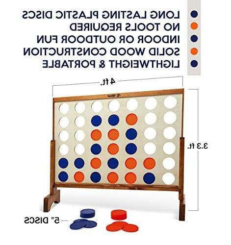 Giant in Row, - Wooden Connect Game Set 4' Wood Grain by Rally & - Oversized Family Games for Lawn, Parties,