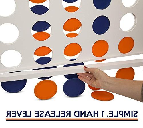 Giant 4 in A Row, to - Premium Connect Game Set 4' by Rally - Oversized Family Outdoor Games Parties, Bar Game
