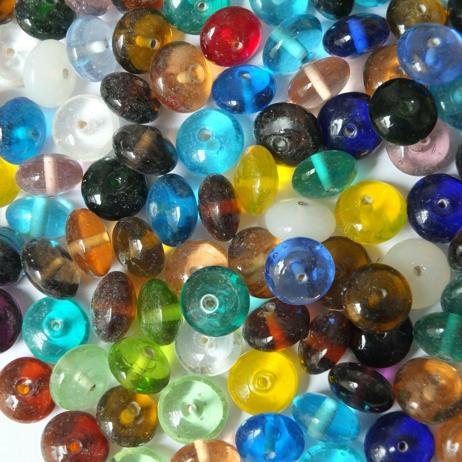 Glass Bead Mix Assorted Transparent Discs 15mm Pack . in India.