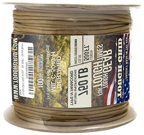 TOUGH-GRID Grizzly Brown Paracord/Parachute Cord - Mil IV 750lb Paracord Used by the Military - 100% - Made In The 200Ft -