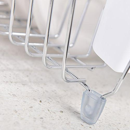 IKEBANA Kitchen Chrome Finish Wire Rack, Small Dish Drainer Rack With Removable Utensils Holder