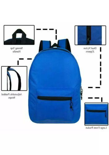 "Lot of 15"" Wholesale Backpack For Kids Basic in 6 Colors"