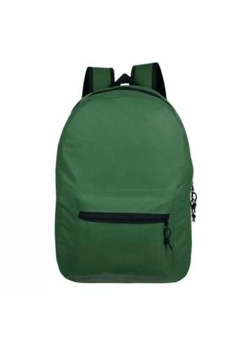 "Lot of 24 15"" Wholesale Backpack For Basic Colors Bulk"