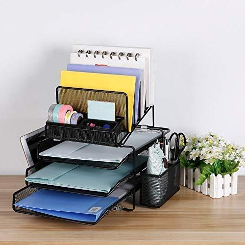 DESIGNA Mesh Desk Organizer with Sliding Tray and Sections with Pencil Black