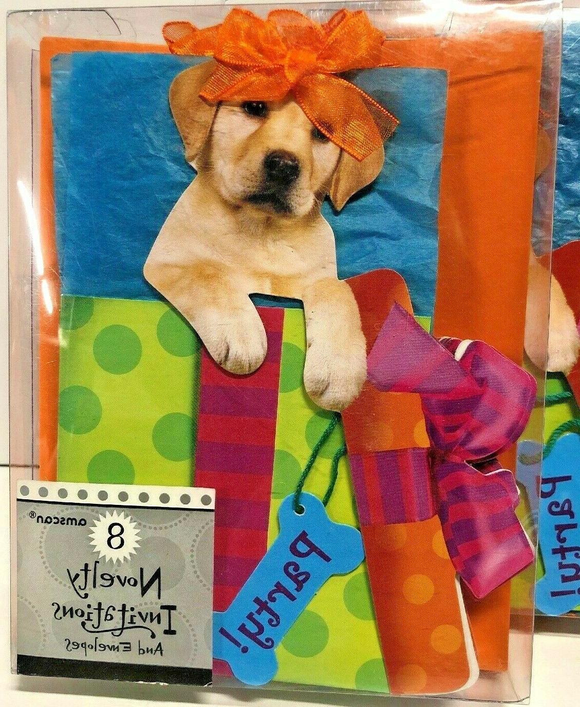 novelty party invitations with cute dog design