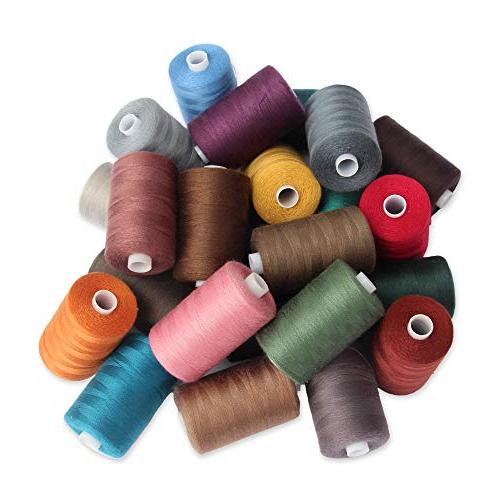 SEWING Polyester 24 Colors, yds Spool, and Sewing Machine
