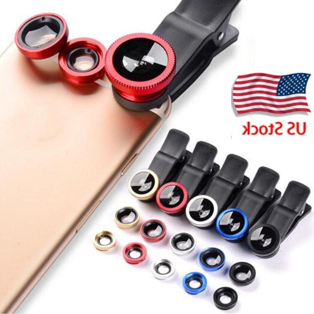 Smart Phone Lens Universal 3in1 Clip Kit Wide Angle Fish Eye