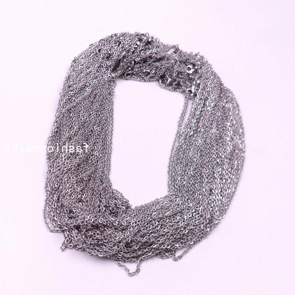 Wholesale Bulk Of Silver/Gold Stainless Steel Rolo Link Chain Necklace