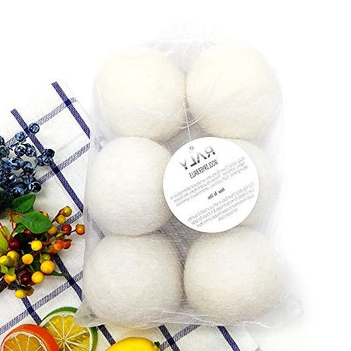 RALY Wool Dryer Balls XL 6-Pack, Reusable Fabric Alternative to Dryer Sheets, 100% Zealand Wool, Non Hypoallergenic, Safe, Included.
