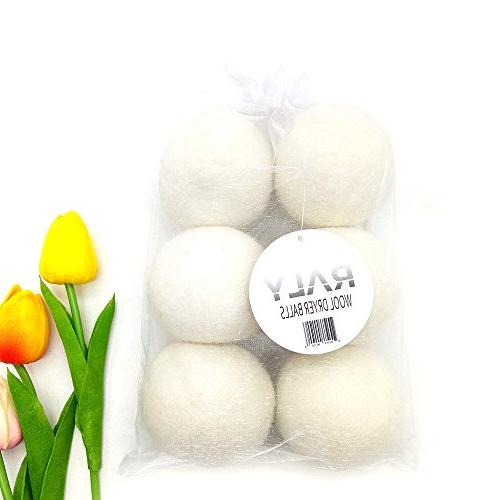 RALY Wool Dryer Balls Fabric Softener, Natural Alternative to 100% Wool, Non Toxic, Hypoallergenic, Included.