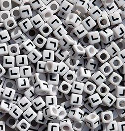 Letter L - 100pc 7mm Alphabet Beads White with Glossy Black