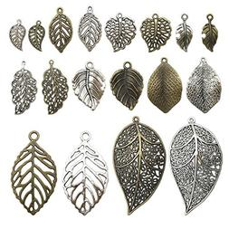100g Leaf Charms Collection - Antique Silver Bronze Hollow L