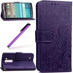 LG G3 Case,G3 Cover,G3 Wallet Cover,LEECO Luck Clover 3D Car