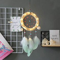 Buyeverything LED Light up Dream Catcher Handmade Beaded Fea