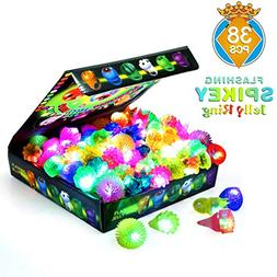 SCIONE Light Up Rings Kids 38 Pack Party Favor Ring Novelty