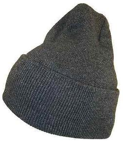 THS Charcoal Grey 12 In Long Cuffed Beanie Thick Knit High B
