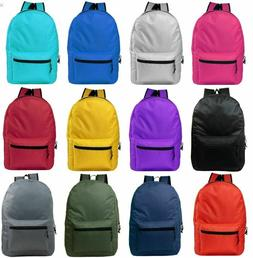"Lot of 24 15"" Wholesale Backpack For Kids Basic in 12 Assort"