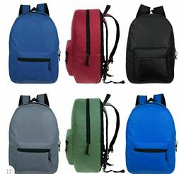 "Lot of 36 15"" Wholesale Backpack For Kids Basic in 6 Assorte"