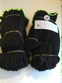 Made in USA 48 Pair Black String Knit Gloves Cotton Poly Wor