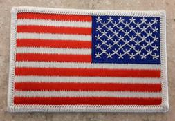 Made In USA American Flag Embroidered Patch White 3.5 x 2.25
