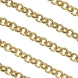 Beadaholique Matte Gold Plated Round Rolo Chain 3mm Bulk By