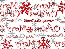 Merry Christmas Red Silver Christmas Gift Wrap Paper - 16 Fo