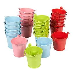 Juvale Pack of 24 2-Inch Small Metal Buckets - Mini Pails wi