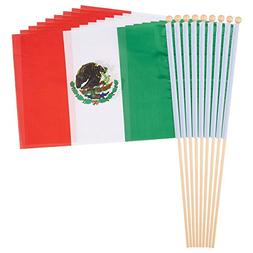 Juvale 12-Piece Mexico Stick Flags - Mexican Hand-held Flags