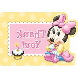 Minnie Mouse 1st Birthday Thank You Notes w/ Envelopes