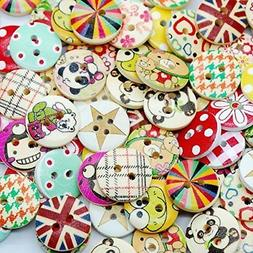 100pcs Mixed Wooden Buttons in Bulk Buttons for Crafts Butto