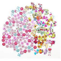 150 pcs Mixed Wooden Buttons, Cartoon Wood Buttons and Round