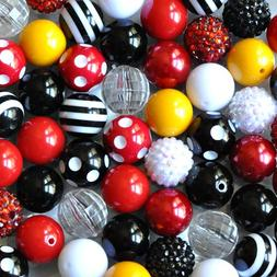Mouse Cruise Red, Black, White, and Yellow 20mm Chunky Bubbl