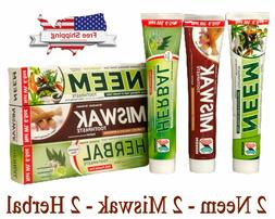 Neem Miswak Herbal Toothpaste 6 PACK MIX LOT 5 IN 1 Formula